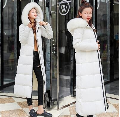 Winter fur collar female long over knee thick padded cotton coat Slim cold Outerwear Parkas coats jacket