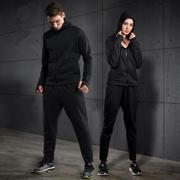 Großhandels- 2017 neue Outdoor Running Sport Anzug Männer Frauen Running Set Warm Jogging Fitness Kleidung Kapuzen Basketball Sport Anzug Sportswear