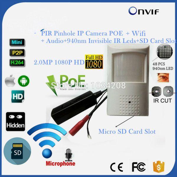 HD P2P Sony 323 1080P 2MP POE Mini IP Pinhole Wifi Wireless PIR IP 940NM Invisible Night Vision / Onvif / Audio / Slot per scheda SD