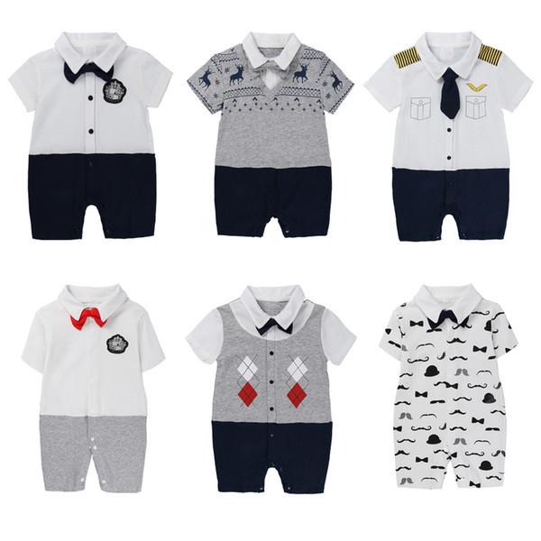Baby boys cute short sleeve Gentlmen onesie 5 styles 5 sizes for 0-18m summer toddlers romper career cosplay jumpsuit