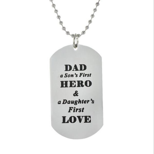 wholesale 10pcs/lot Family Father Necklaces Dad A Son's First Hero A Daughter's First Love Pendant Necklace Jewelry Fathers Day Gift