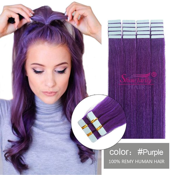 Purple Colorful European Hair Soft Silky Straight Remy Human Hair 20pieces per pack tape in hair extensions