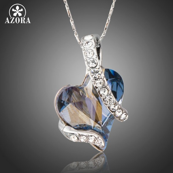 Azora Forever Love Light Blue Heart Stellux Austrian Crystal Classic Pendant Necklaces For Valentine Day Gift Of Love Tn0195