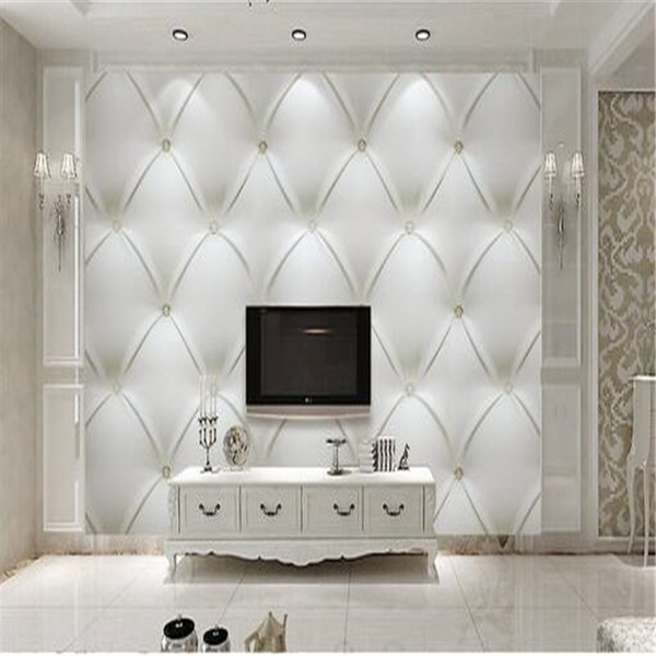 custom photo wallpaper 3d white Europe simulation soft bag pearl bedding room TV background 3d non-woven wall wallpaper