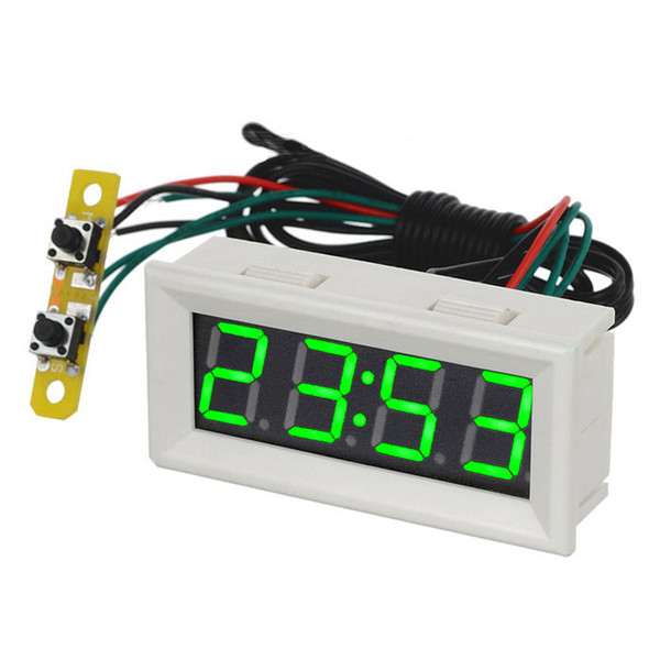 0.56 Green LED Clock Voltage Temperature Digital Display Thermometer Voltmeter Electrical Test Meters Thermal Sensors - White
