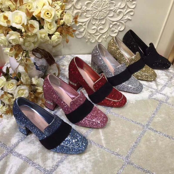 High quality woman sequins Pointy High heels Sexy fashion Dress Shoes Office & Career Women's shoes high 8cm