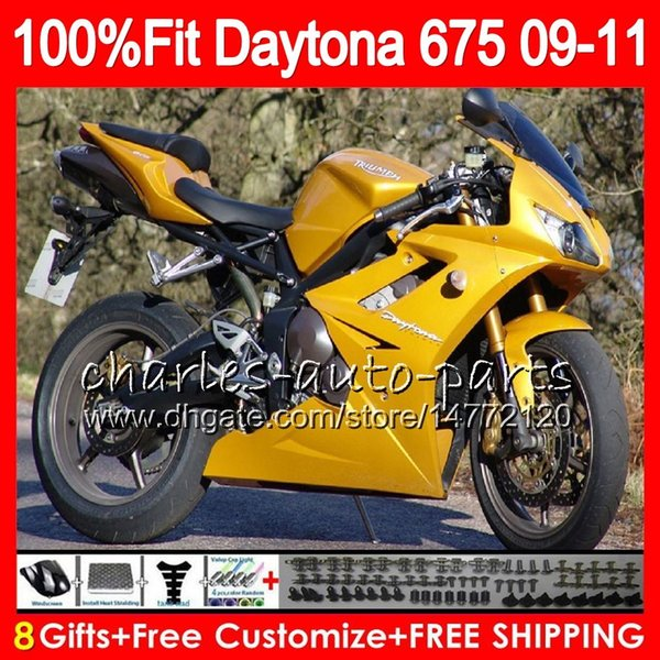 Injection ALL Golden For Triumph Bodywork Daytona 675 2009 2010 2011 2012 107HM.40 Daytona 675 09 10 11 12 Daytona-675 Daytona675 Fairing