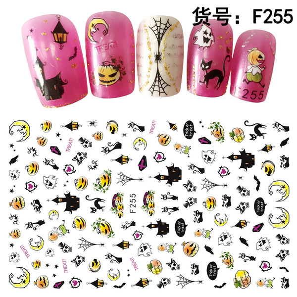 10pcs/lot New adhesive nail stickers halloween designs cushaw spider ghost nail art decoration decal manicure wholesale supplies YNS01