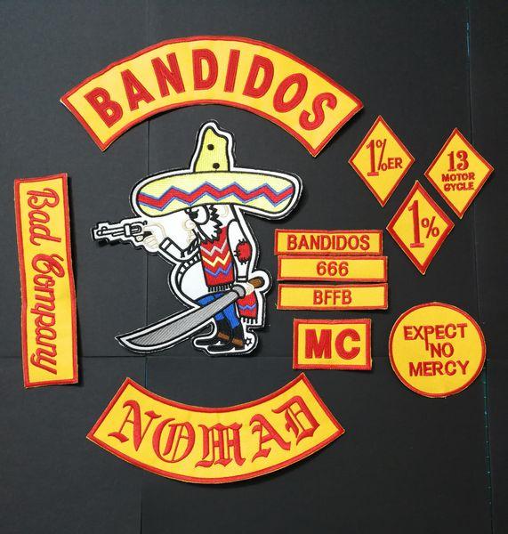 ggtime / NEUE ANGEKOMMENE 12 TEILE / SATZ BANDIDOS NOMADEN MC PATCHES FÜR DIE JACKE WESTE MOTORRADKLEIDUNG KLEIDUNG BANDIT PATCHES EISEN AUF AUFZIEHBAREM AUF