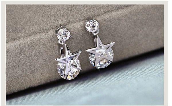 2018 sterling silver handmade stylish atmosphere simple hot selling compact star shaped cute earrings pendant plated platinum earrings penda