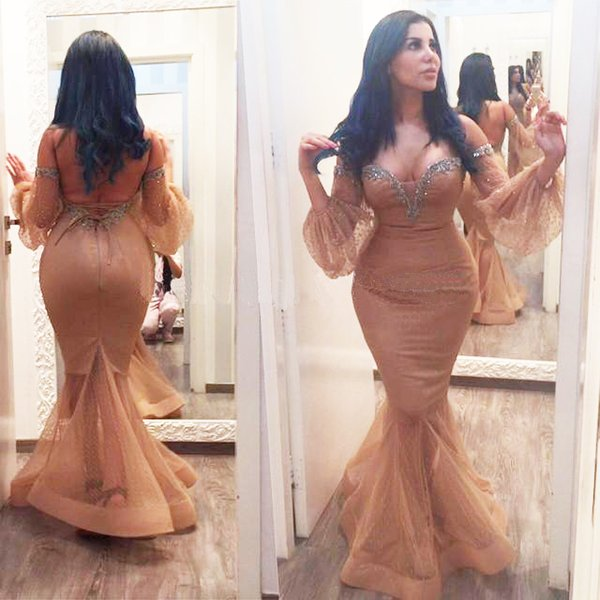 2019 Sexy Mermaid Evening Dresses Long Sleeves Tight Formal Prom Gowns Sweetheart Neck Floor Length African Girls Pageant Dress