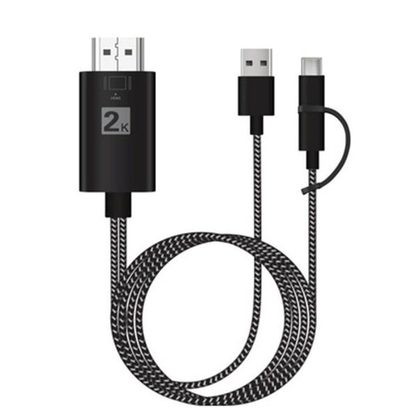 Câble HDMI 3 en 1 MHL pour Samsung A7 J5 / IP8 / type-c3.1 Huawei Micro USB vers HDMI Adaptateur de câble Connecteur HDTV TV