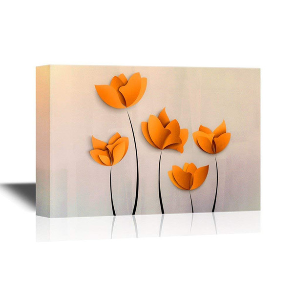 HD Printed Decorative Abstract Orange Flowers on Grey Background Gallery Wrap Modern Home Decor Canvas Painting Art