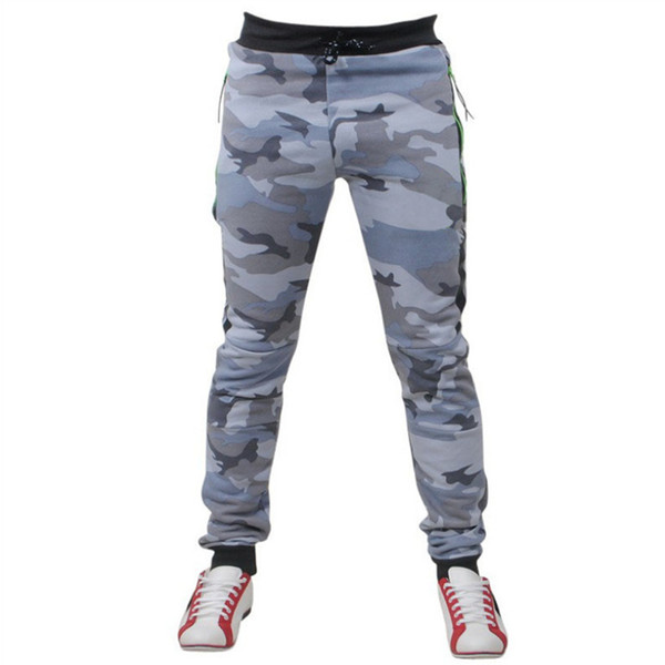 Casual Mens Camouflage Stretchy Jogger Long Pants 2018 Autumn Lace Up Cotton Slim Fit Straight Leg Trousers Plus Size