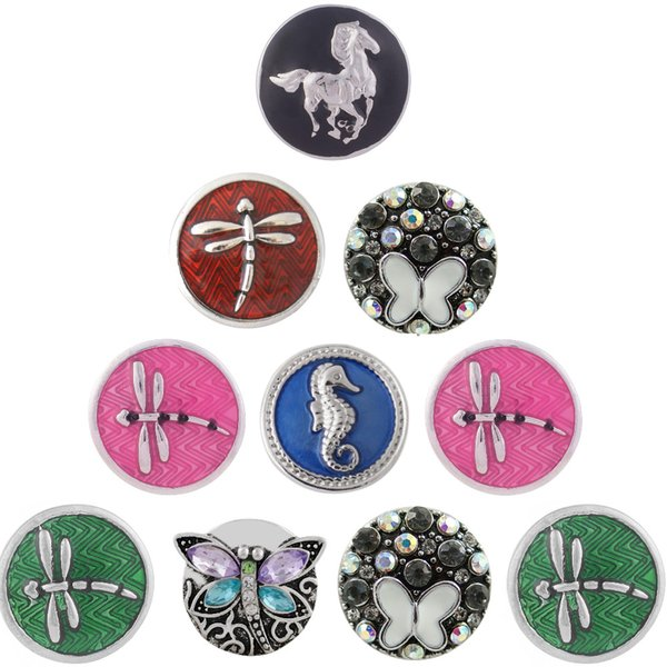 New 10pcs Snap Jewelry Metal dragonfly butterfly Rhinestone Snap Buttons Fit 18MM Bracelets For Women girl gifts