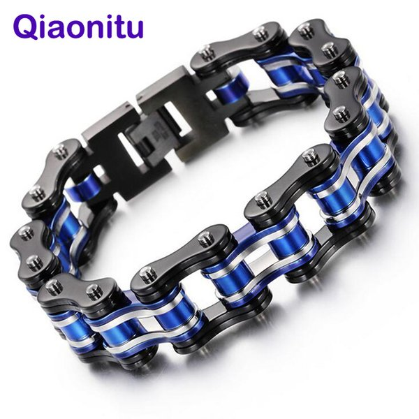 Punk Black Blue Silver Fashion Bike Motor Motorcycle Chain Titanium Stainless Steel Biker Men's Bracelet Bangle jewelry 8.66''