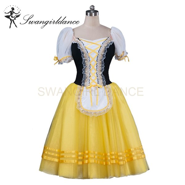 Women Black Yellow Giselle's Variation World Ballet Competiton Ballerina Professional Ballet Tutu Dress BT8904F