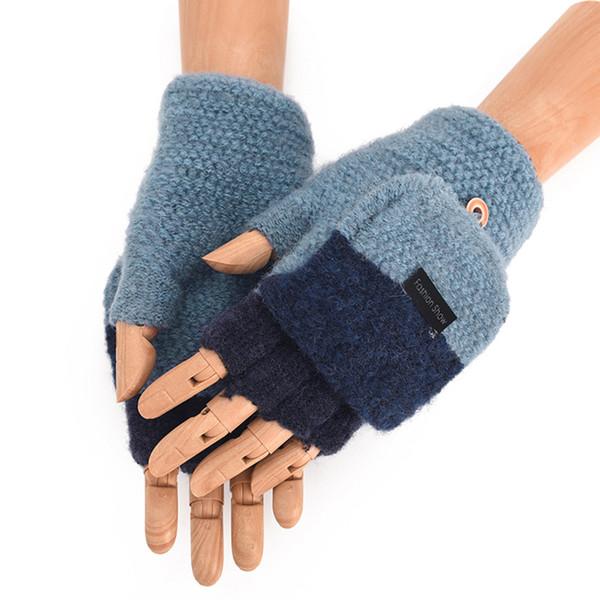 Mens invierno cálido engrosamiento de lana de punto flip fingerless expuesto dedo grueso guantes medio dedo mano mano establece