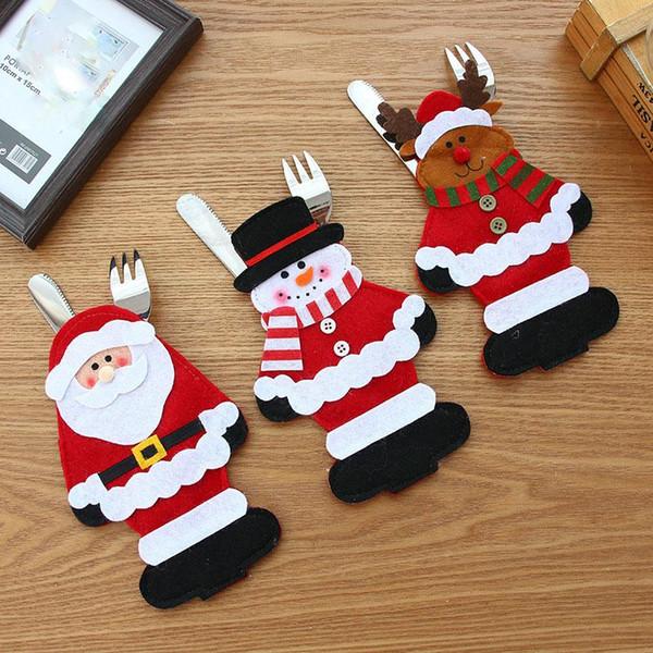Cuchillo de Navidad conjunto tenedor de dibujos animados Santa Claus muñeco de nieve ciervos alces Cubiertos conjunto decoraciones para el hogar de Navidad Utensilios bolso MMA841 120pcs