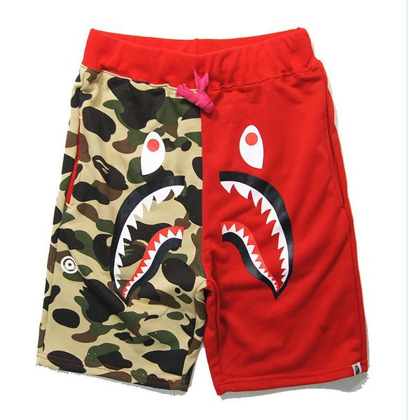 best selling FASHION Ape Beach shorts Camouflage splicing BATHING Printed Shark head WGM Off Men Leisure pants White for Summer free shipping