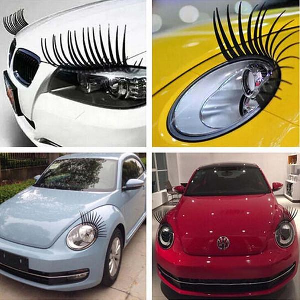 10pairs de voiture cils autocollants phare autocollant lumière cil accessoire accessoire Eye Lashes autocollant 3D charmant Noir colle faux voiture décoration drôle