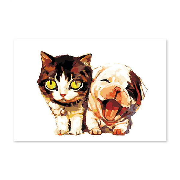 Diy digital oil painting by numbers drawing hand painted picture Wall Decor pictures cat and dog lovely animal
