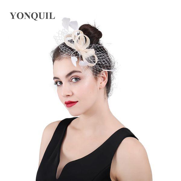 Grande Qualidade Mulheres Fascinator Hat Braial véus Fascinator Cabelo Pentes de Noiva Headbands Ascot Raça Evento Decoração Do Cabelo Headwear SYF436