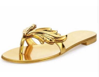Acheter Europe 2018 Simple Nouveau Design De Mode Slipper Sandals Femmes Feuille Diapositives Tongs Plage Aile Femmes Gladiateur Thong Sandale De