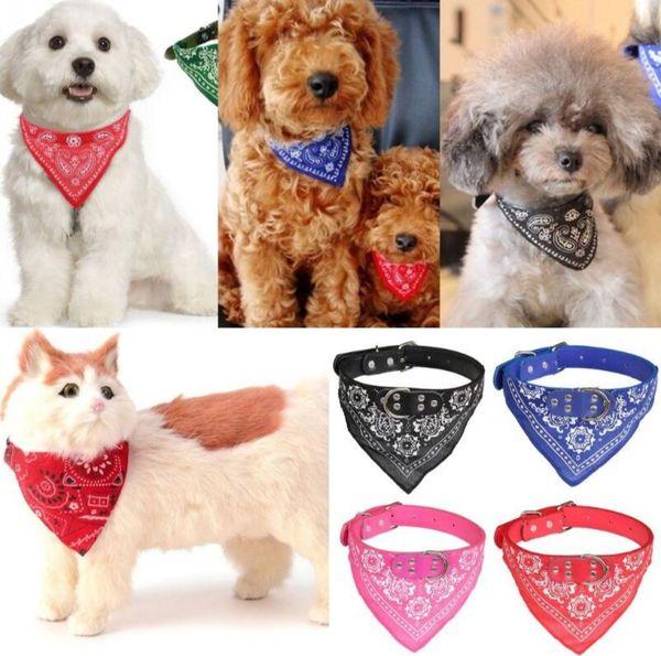 Dog Triangle Saliva Towel Puppy Napkin Neck Scarf Bandana with Leather Collar Neckerchief Adjustable Puppy Cat Scarf 5 Sizes EEA333