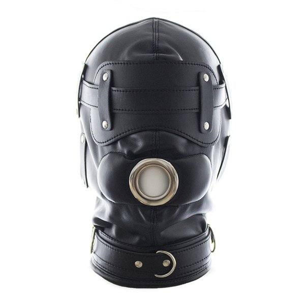 Sex Mask Adult Games Sex Products Funny Black Soft Sexy Fetish PU Leather Restraints Headgear Hood Mask Slave Men Erotic Toys Y18102405