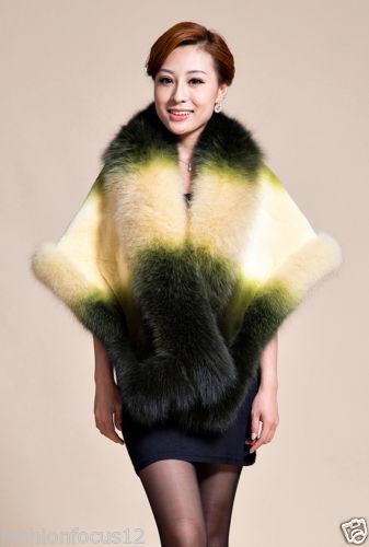Brand new Lady's Winter Best Rex Rabbit fur and Fox Fur Shawl/Coat/cape gradient green