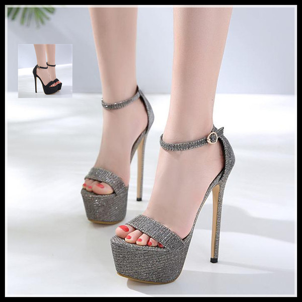 16cm glitter cloth ankle strappy ultra high heel platform shoes ladies gladiator sandals size 34 to 40