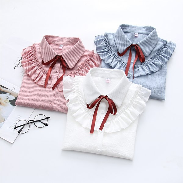 New Ruffles Women's Shirts Striped White Blouses School Blouse with Bow Flare Long Sleeve Autumn Cotton Shirt Blouse Top Female