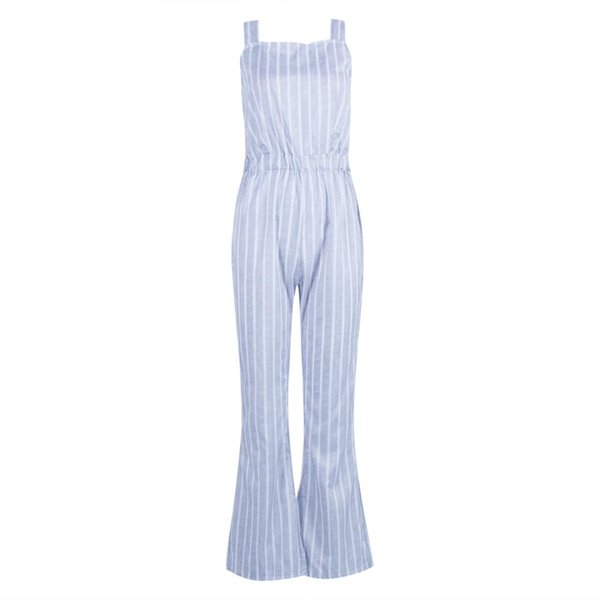 Women's Sleeveless Striped Jumpsuit Backless Wide Leg Panst Overall Rompers Jumpsuits Holiday Belted Leotard Overalls