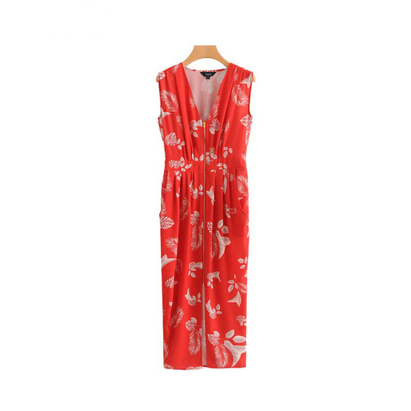 b73c8ee63b8 women elegant V neck floral midi dress pockets sleeveless pleated ladies  casual chic mid calf dresses vestidos