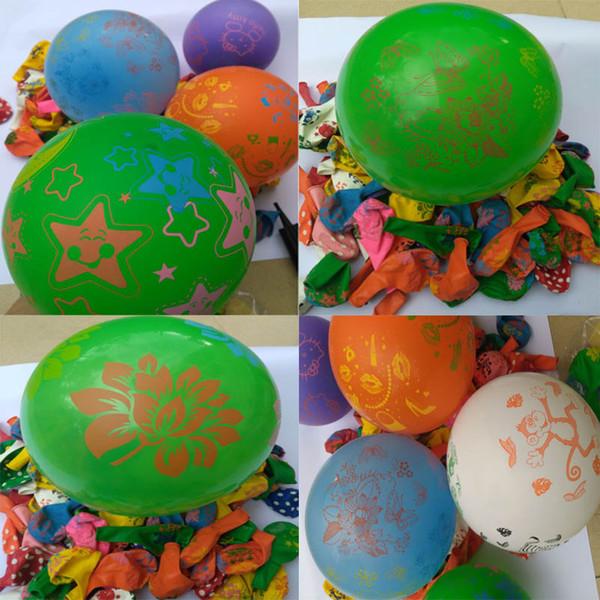 100 adet 12 inç Lateks Renkli Karikatür Baskılı Noel Balonlar Doğum Günü Düğün Parti Dekorasyon Balonlar Hava Topları Baloons
