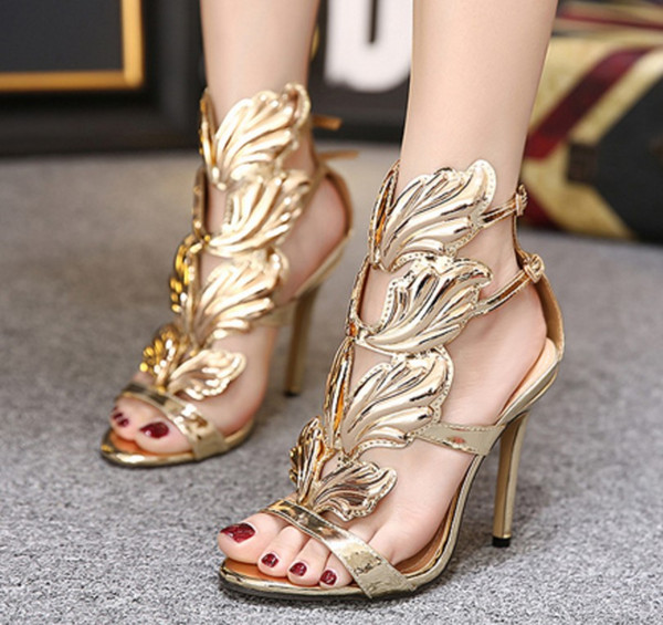 Golden Metal Wings Leaf Strappy Dress Sandal Shoes Sexy Open Toe Gladiator High Heels Shoes Women Metallic Winged Sandals