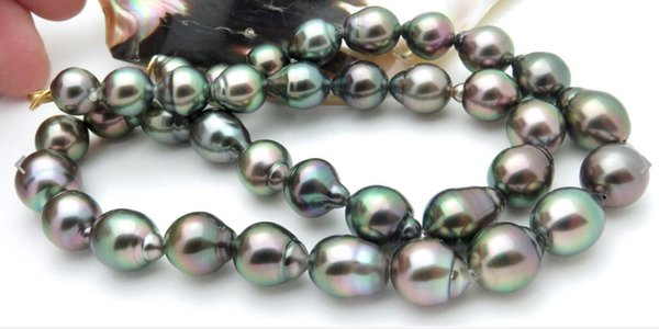NEW FINE PEARL JEWELRY BEAUTIFUL 10-13MM TAHITIAN BLACK MULTI PEACOCK CULTURED PEARL NECKLACE 20INCHES RARE