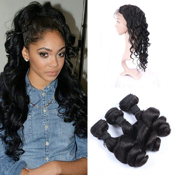 Peruvian Pre Plucked 360 Lace Frontal with 3 Bundles Loose Wave Hair Full 4 Pieces/lot Unprocessed Human Hair Extensions