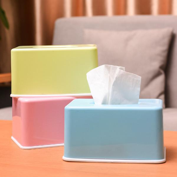 YINUO Living Room Restaurant Kitchen Napkin Tissue Boxes with Modern Natural Plastic Storage Desktop Tray Paper Organizer