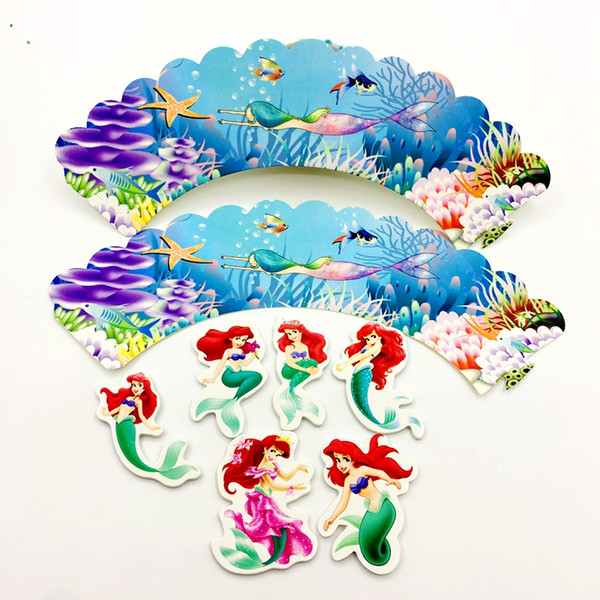 120Pcs Little Mermaid Princess Cupcake Wrappers Cake Toppers Baby Shower Girl Kids Birthday Party Supplies Cake Cups Decoration