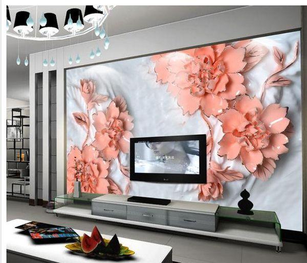 papier peint classique pour les murs fleurs de sculpture de jade ouvrir riche comme mur de fond de jade pivoine propice TV
