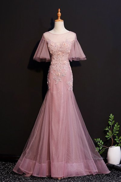 Mermaid Lace Beaded Sexy 2018 Evening Dresses Sheer Neck Tulle Prom Dresses Cheap Pageant Bridesmaid Formal Party Gowns