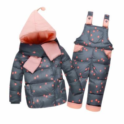 For Girl Boy Snowsuit Winter Overalls Children Autumn Warm Jackets Toddler Outerwear Baby Suits Coat Pant Set 2-4Y