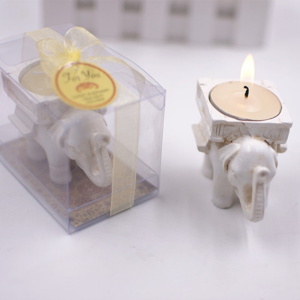 New Creative Tealight Candlestick Bridal Shower Retro Lucky Elephant Candles Holder Wedding Party Favors Gift Banquet Table Decor 3 5yc aa