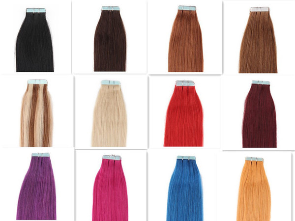 A Grade 12-30 '' Silky Straight 50 Gram Black Brown Blonde Mixed Ombre Color 100% Indian Hair Extensions Skin Weft PU Tape