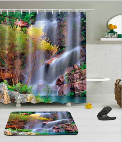 Rock Falls 3D pattern Print Custom Waterproof Bathroom Modern Shower Curtain Polyester Fabric Bathroom Curtain Door mat sets