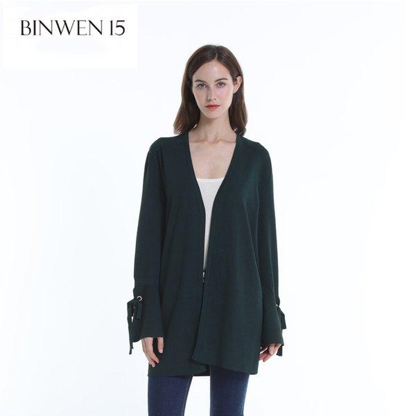 Mode Frau Pullover 2018 Lange V-Ausschnitt Strickjacke für Frauen Weiß Schwarz Open Stitch Oversized Pullover Feminine Kleidung