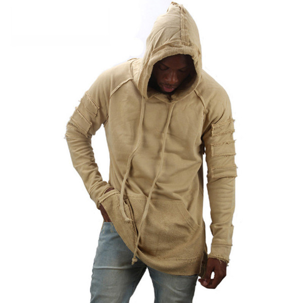 Fashion  European and American Street Hip-hop Long-sleeved Male Long Section Street Male Clothing