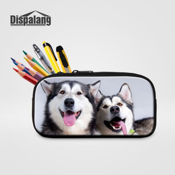 Dispalang Women Travel Make Up Bag Animal Print Kids Pencil Bag Stationery Storage Wolf Office School Supplies Cosmetic Case